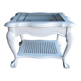 White Lacquer Vintage Claw Foot End Table