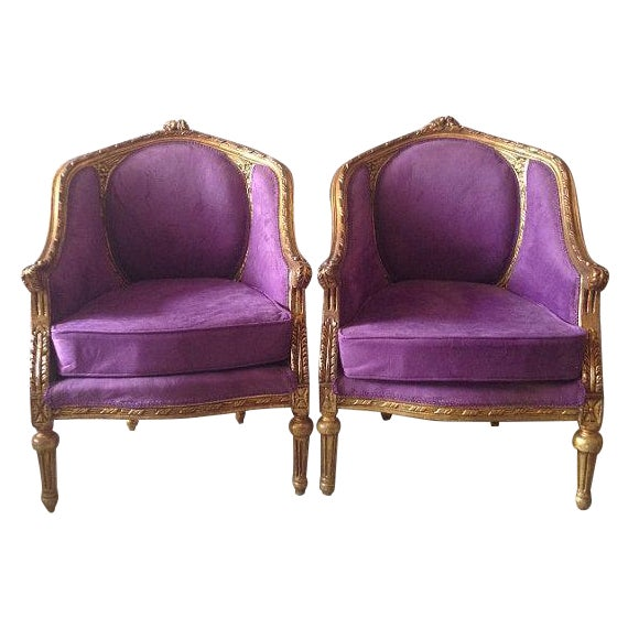 Image of Purple Louis XVI Chairs - A Pair