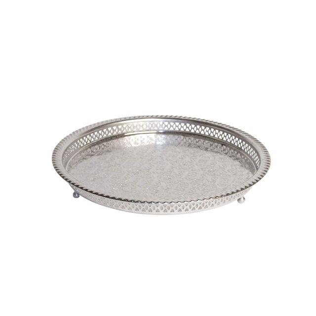 Silver Moroccan Serving Tea Tray - Image 5 of 5