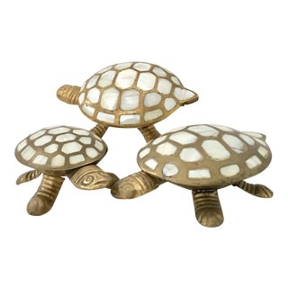 Brass & Mother of Pearl Inlay Turtle Boxes - Set of 3