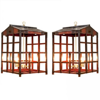 Vintage Japanese Peddler Cage Chandeliers - A Pair