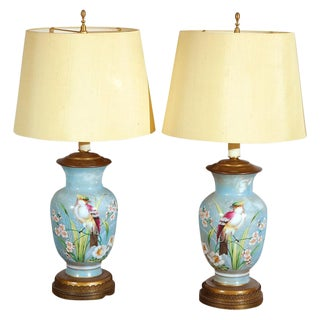 Hand Decorated Glass Table Lamps - A Pair