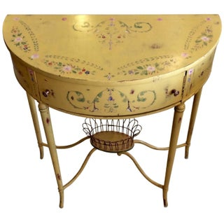 Hand-Painted French Demilune Console