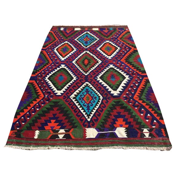 Image of Vintage Turkish Kilim Rug - 6′2″ × 9′7″