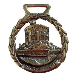 """Vintage Brass Horse Bridle Medallion Ornament """"Windsor Castle"""""""