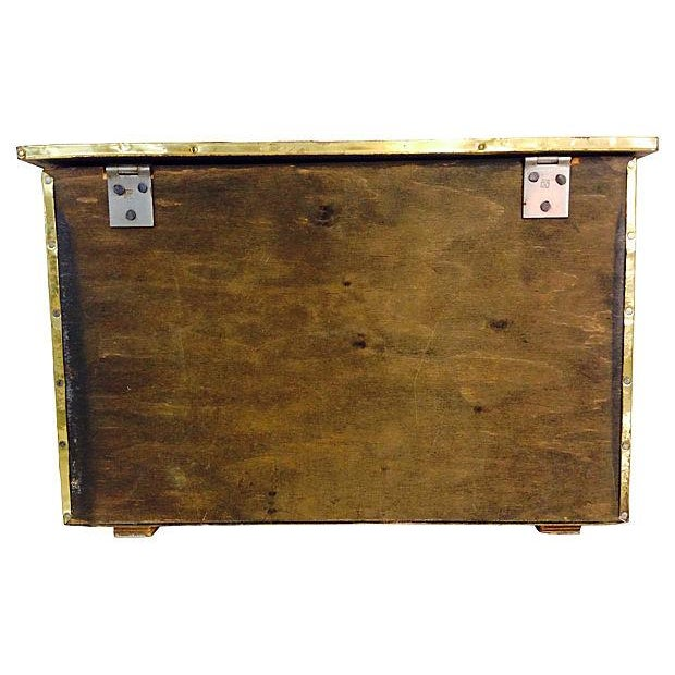 Vintage English Gilded Brass Fireplace Wood Box - Image 2 of 6