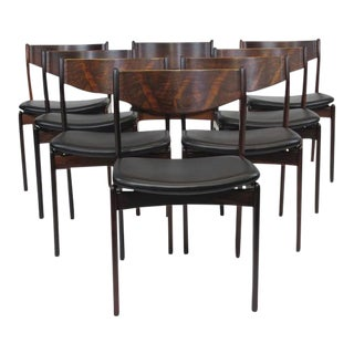 Eight Jorgensen Danish Rosewood Dining Chairs in Black Leather