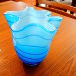 Image of Mid-Century Italian Wavy Glass Vase - Blue & White