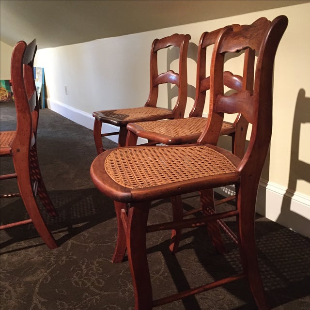 Antique Tiger Maple Chairs - Image 4 of 6