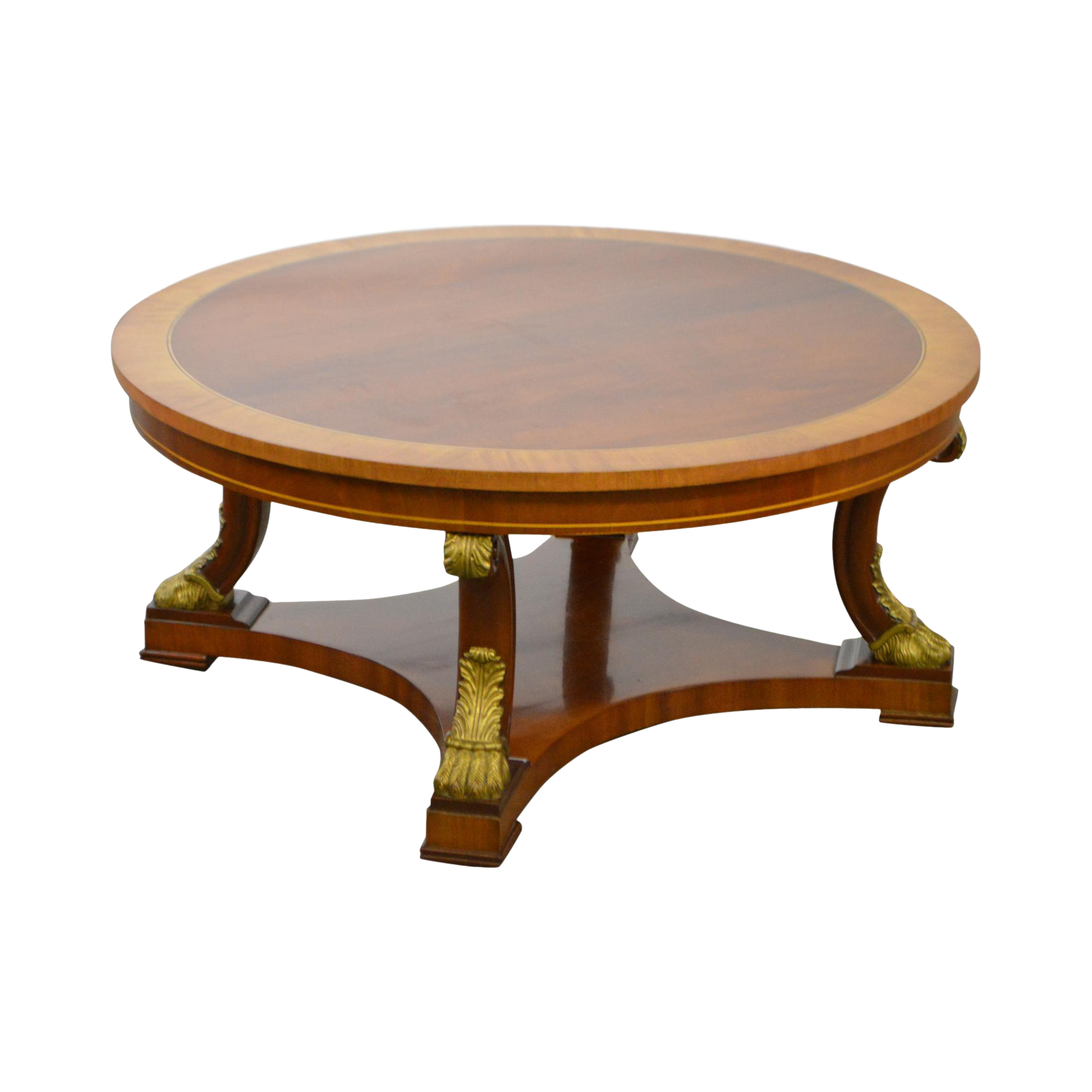 Kindel Regency Style Round Mahogany Coffee Cocktail Table