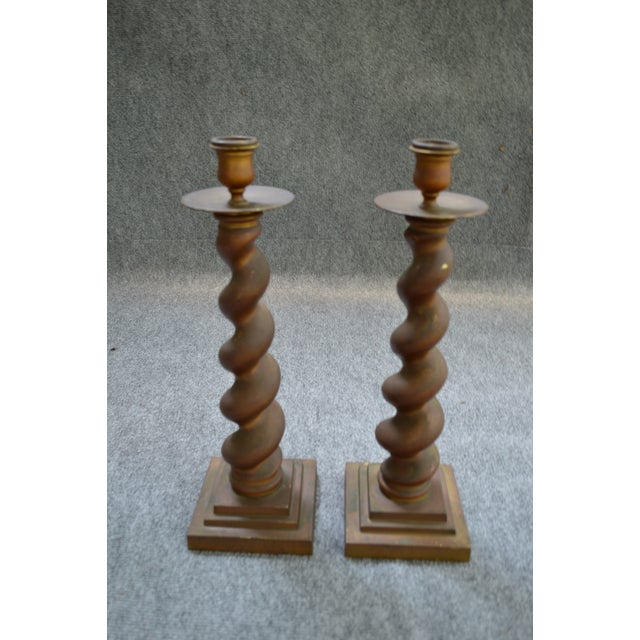 Vintage Brass Candlesticks - Pair - Image 8 of 8