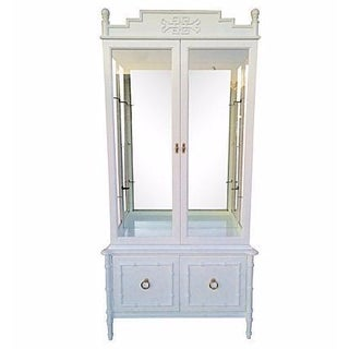 Hollywood Regency White Lacquered Cabinet