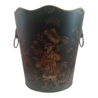 Asian Chinoiserie Lion Vessel Wastebasket