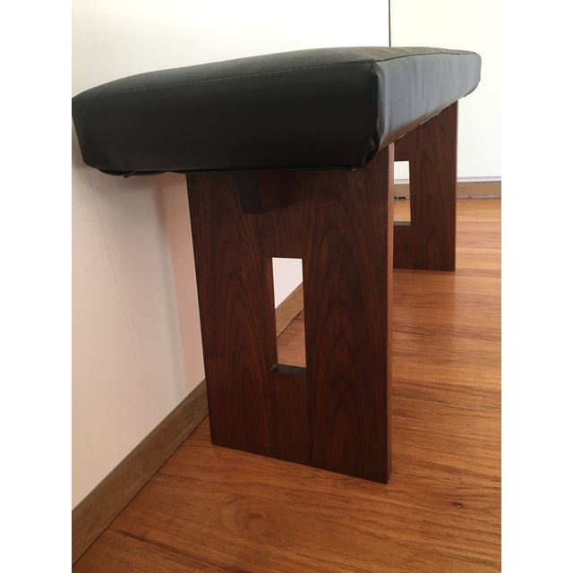 Image of Contemporary Black Vinyl & Walnut Base Bench