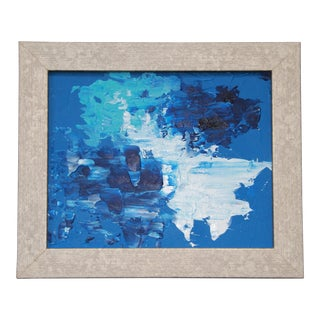 'Blue Tide #1' Abstract Blue Framed Painting by L. Paul