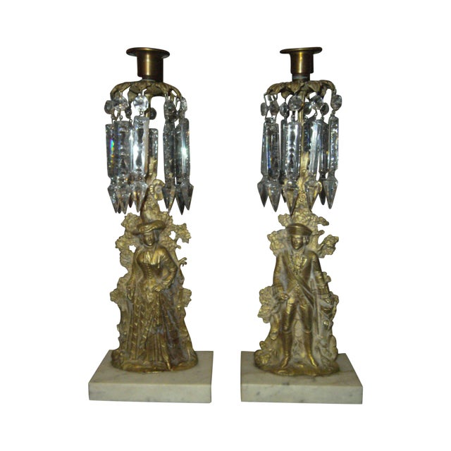Image of Antique Mantel Candle Holders - A Pair