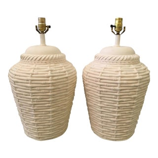 Dickinson Style Basket Form Table Lamps - A Pair