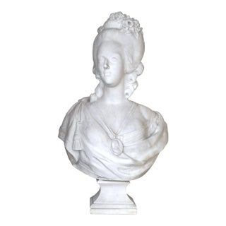 Large 18th Century French White Marble Bust of Marie Antoinette After F. Lecomte