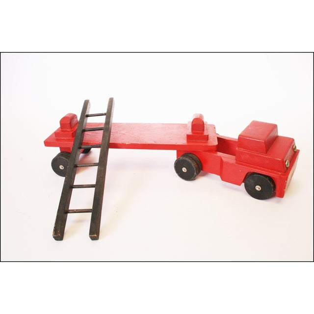 Vintage Hand Carved Wood Toy Fire Truck & Ladder Company - Image 6 of 11