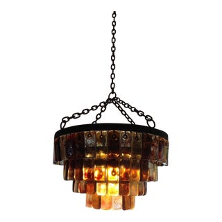 Feders Brutal Amber Glass Studio Chandelier