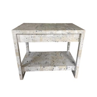 Custom Wallpapered Glass Top Side Table
