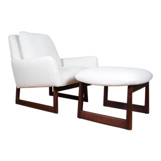 Designer Jens Risom Reupholstered Lounge Chair & Ottoman Set