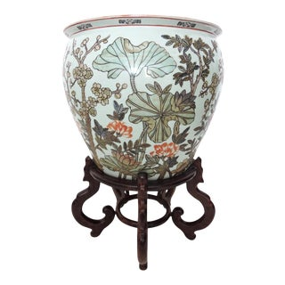 Oriental Lotus & Koi Planter on Rosewood Stand