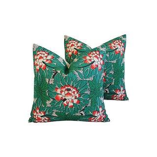 Custom Chinese Lotus Blossom Linen Pillows - Pair