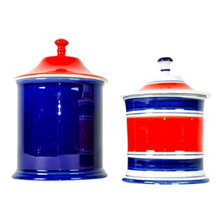 Italian Porcelain Condiment Jars - A Pair