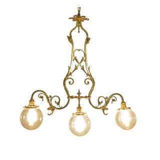 1800's Mitchell & Vance Brass Gas Light Chandelier
