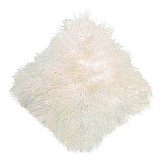 Vintage Off-White Mongolian Sheepskin Long Hair Square Pillow