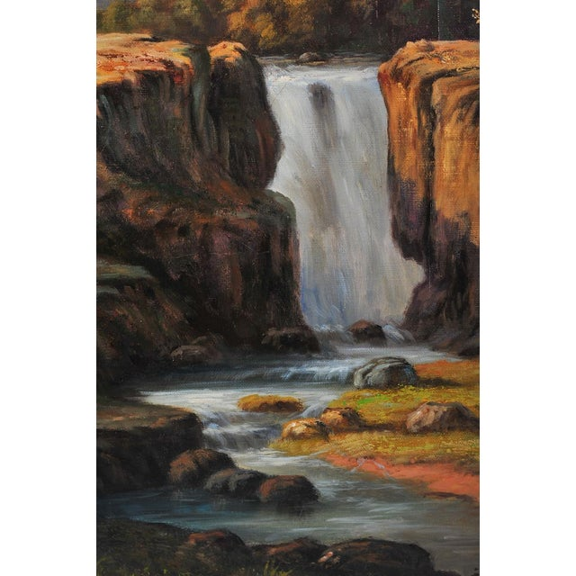 """19th C. Hudson River School """"Waterfall Landscape"""" Oil Painting - Image 6 of 9"""