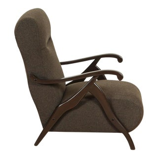 Pair of Sculptural Italian Armchairs in Cotton Cashmere