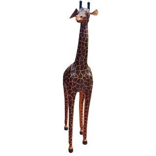 Handmade Leather Giraffe Figurine