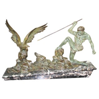 French Art Deco Patinated Metal Sculpture Hunter Stalking Bird, Circa 1940's