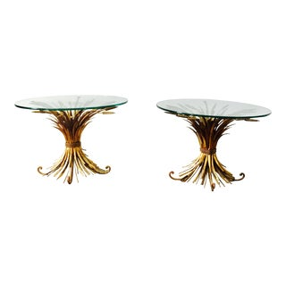Sheaf of Wheat French Gold Gilt Side Tables - a Pair