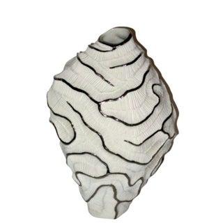 Handmade Porcelain and Platinum Vase, Contemporary, Italian