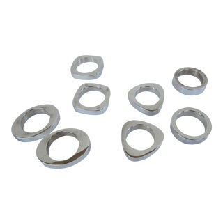 Modern Silverplate Napkin Rings - 8 Pieces
