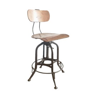 Vintage Toledo Drafting Wood Stool