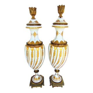 Rene Michel French Sevres Urn Lamps - A Pair
