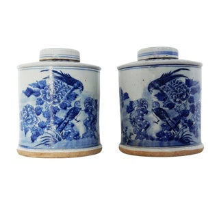 Blue & White Porcelain Ginger Jars - A Pair