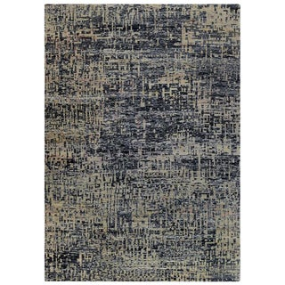 Blue Echo Grunge Design Rug - 9′9″ × 13′10″