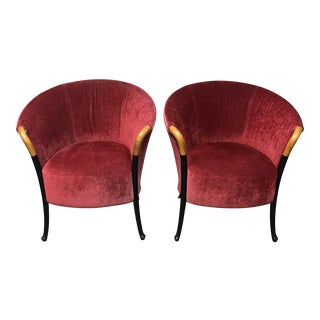 Giorgetti Progetii Red Velvet Chairs - A Pair