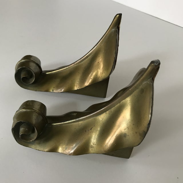 Vintage Brass Feather Leaf Bookends - Image 9 of 10