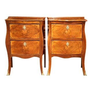 French Louis XV Walnut Night Stands - A Pair