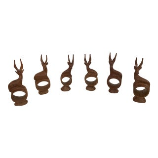 Hand Carved Wooden Gazelle Napkin Rings - Set of 6