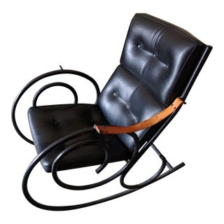 Sculptural Steel Rocking Chair In The Style of Michael Thonet