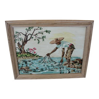 Vintage 1950s Cast Fisherman Paint by Number