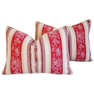 Vintage French Ticking Floral & Bird Feather/Down Pillows - Pair