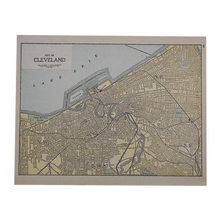 City Map Antique Lithograph - Cleveland, OH